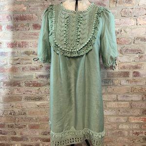 Hazel short sleeve green cottage core dress